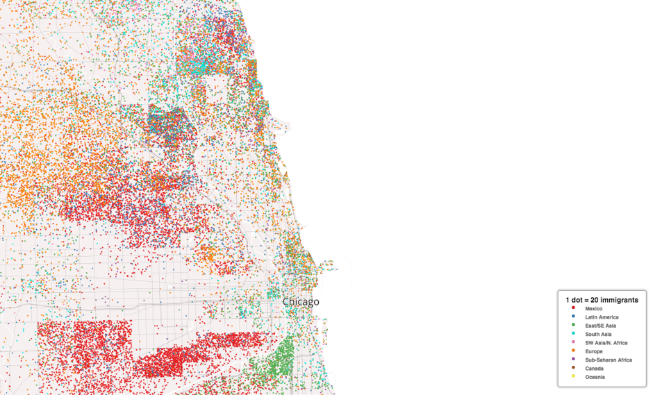 Mapping Immigrant America, Kyle Walker, immigration map, Chicago population map