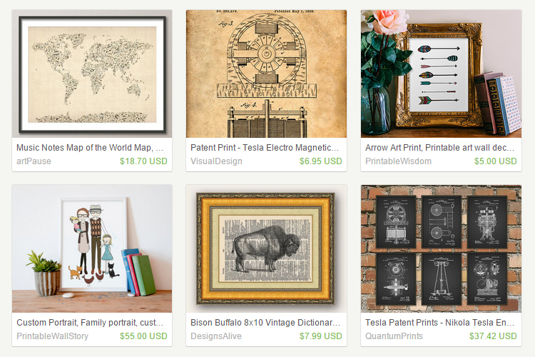 Etsy, best places to buy cheap art