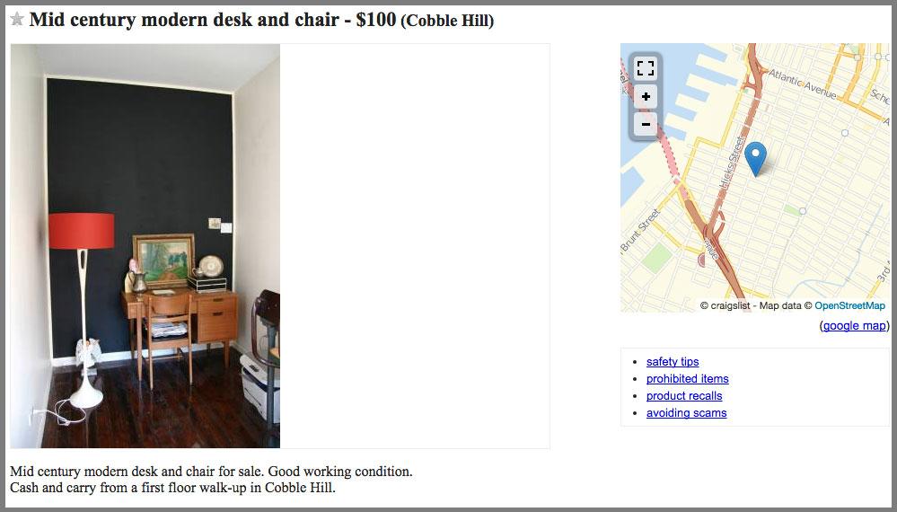 craigslist ad furniture