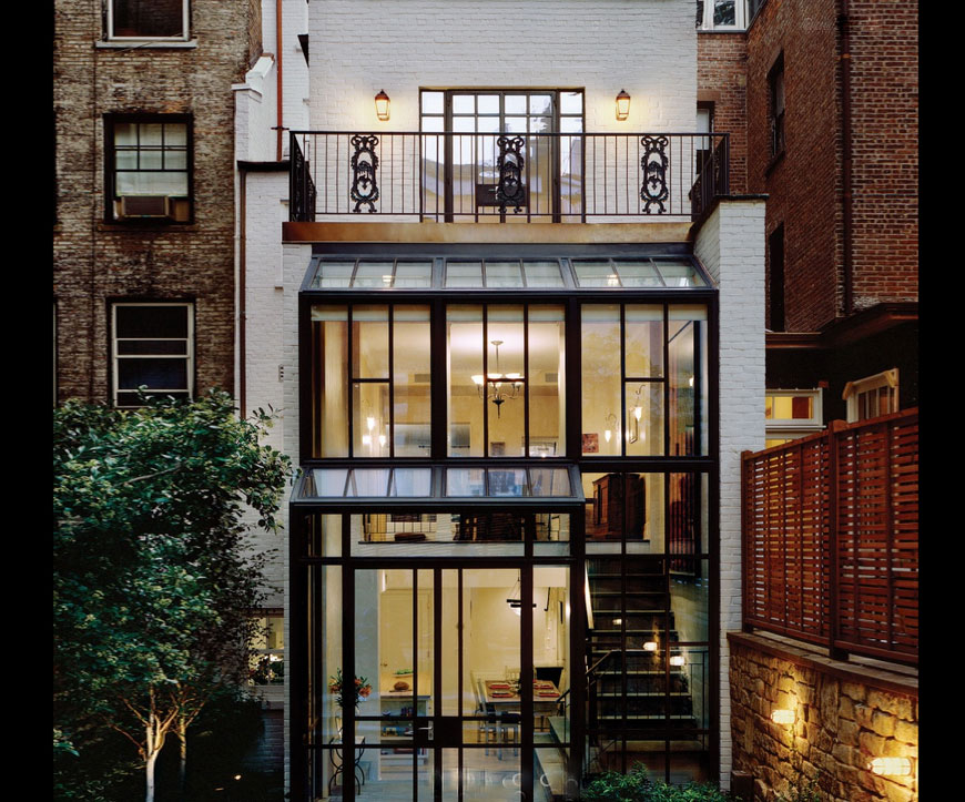 Pbdw architects add a dramatic rear conservatory to this for Townhouse with garage nyc
