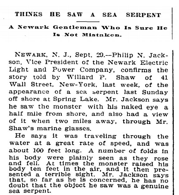sea serpent NYC NY Times article 1895