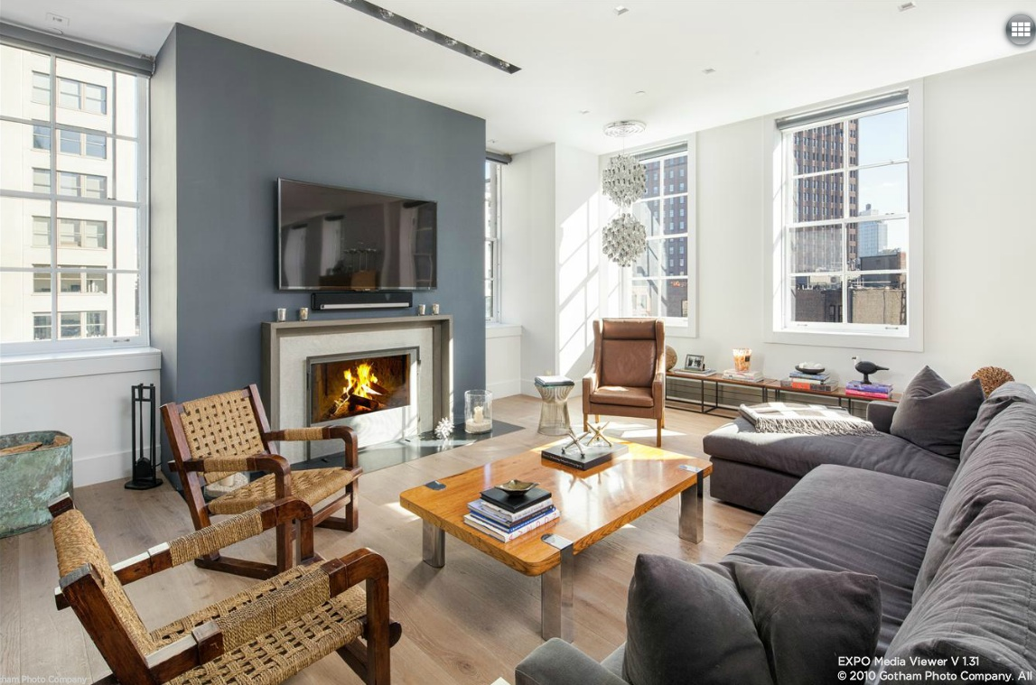 140 Franklin Street, living room, tribeca, loft, condo
