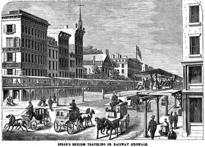Alfred Speer, moving sidewalk NYC, never-built NYC, giant conveyor belt