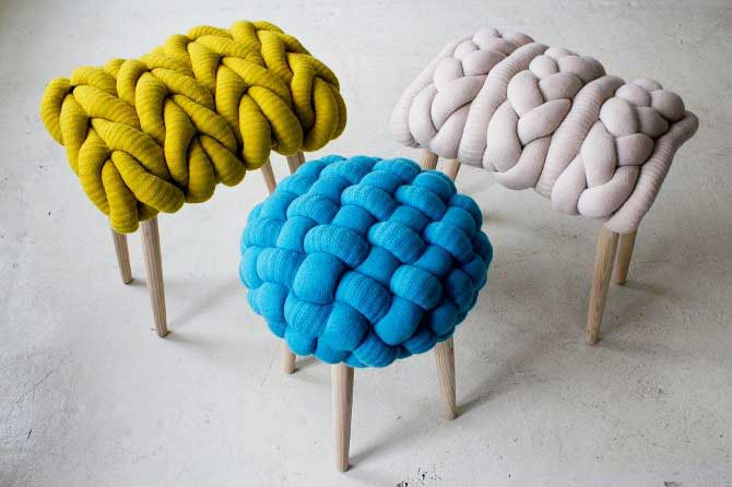 Claire-Anne O'Brien, Chunky Woolen Stools, Knit Stools, lams wool, ash wood legs, cozy stools, knitted stools, traditional techniques, tactile designs,