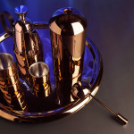 Tom Dixon, British design, tribute to coffee making, copper coffee set, Brew Coffee Collection, stainless steel set,