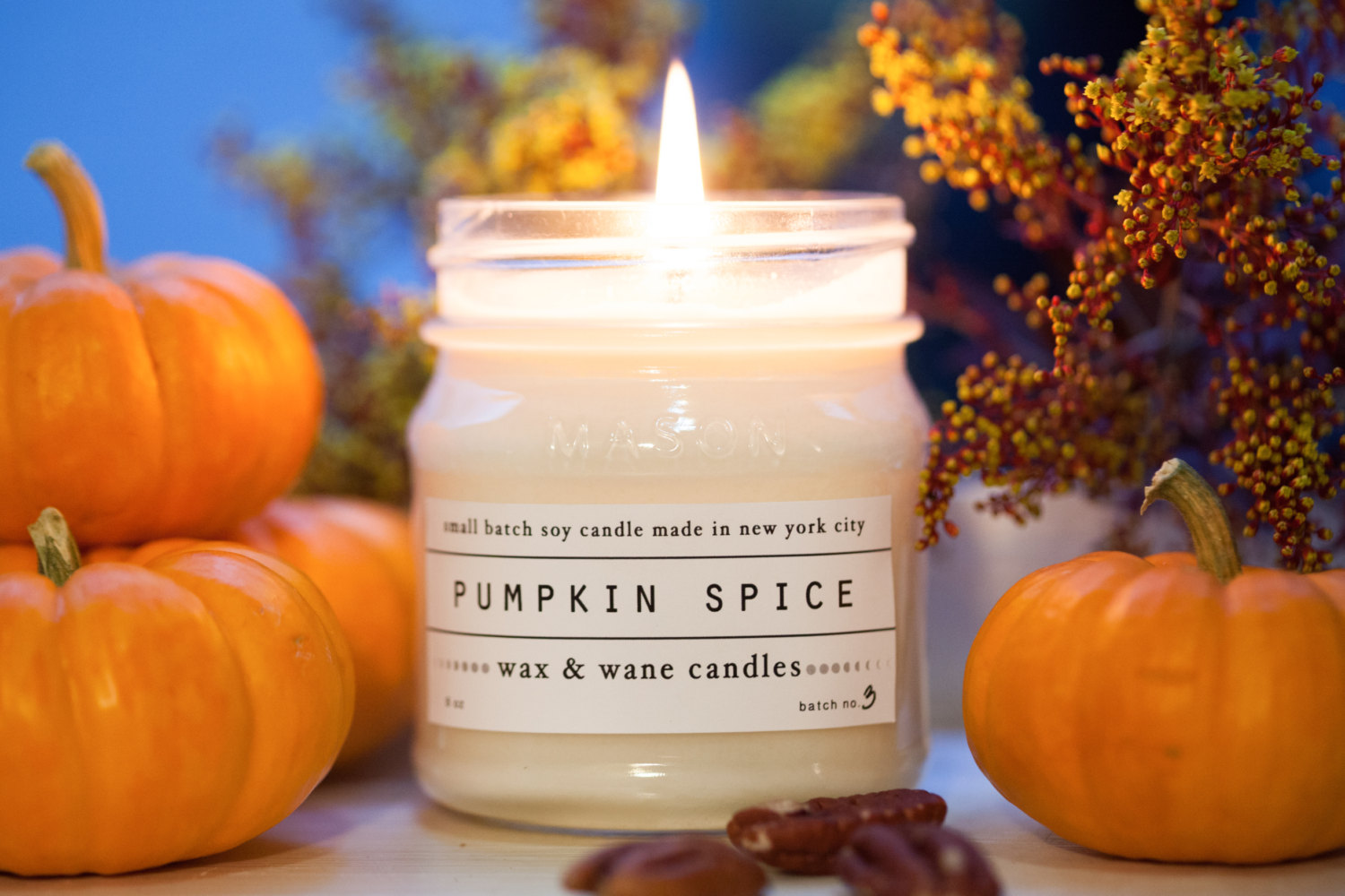 pumpkin spice candle, Wax and Wane Candles, Etsy