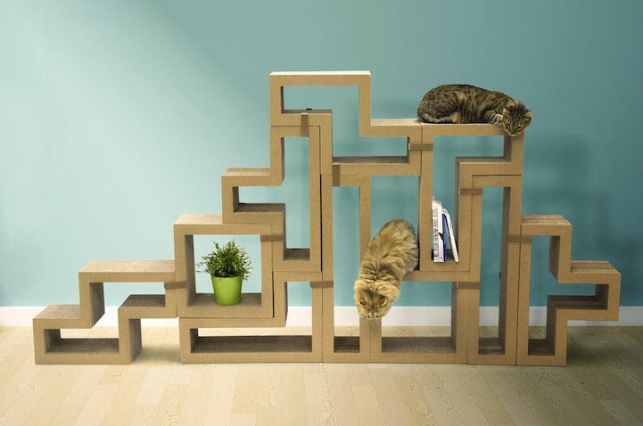 katris tetris style modular furniture that doubles as a cat scratcher 6sqft. Black Bedroom Furniture Sets. Home Design Ideas
