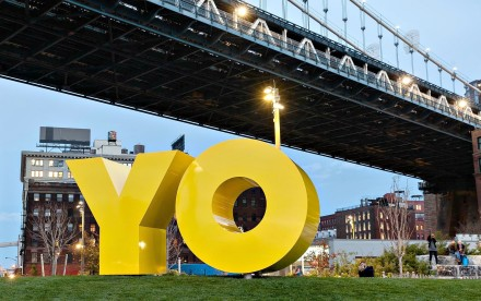 Deborah Kass, OY/YO, Two Trees Management, Brooklyn Bridge Park, NYC public art
