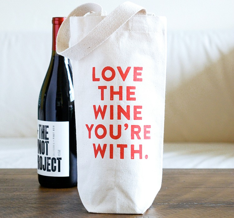 Love The Wine You're With wine tote, Diana Kuan, Plate & Pencil, wine totes