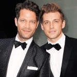 Interior designer Nate Berkus and his fiance Jeremiah Brent wearing tuxedos and shoes with no socks arrive at the Mercer Hotel in New York City