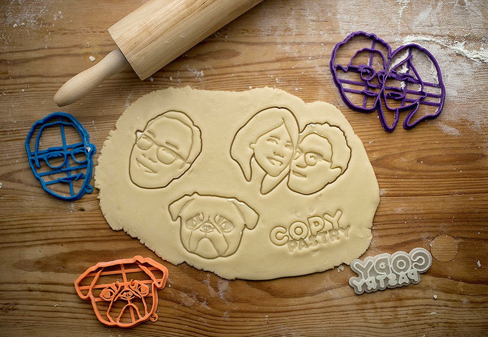 copypastry, custom cookie cutters, pet cookie cutter, portrait cookie cutter, 3D printing