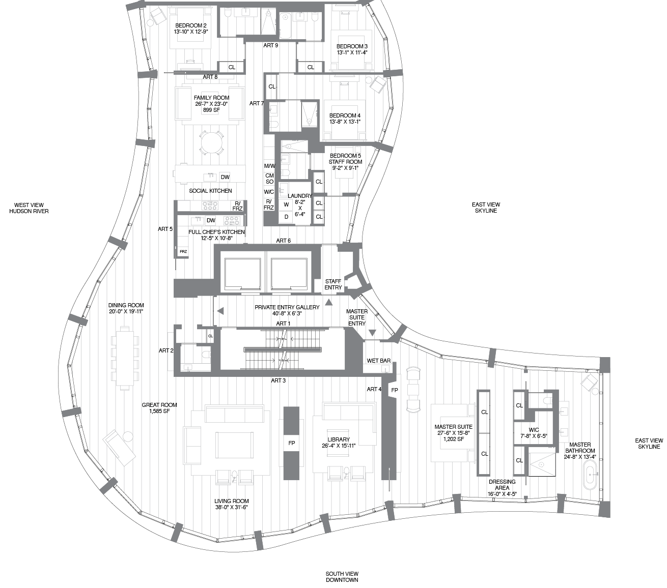 Amoeba-Like Floorplans For Herzog & De Meuron's 160 Leroy