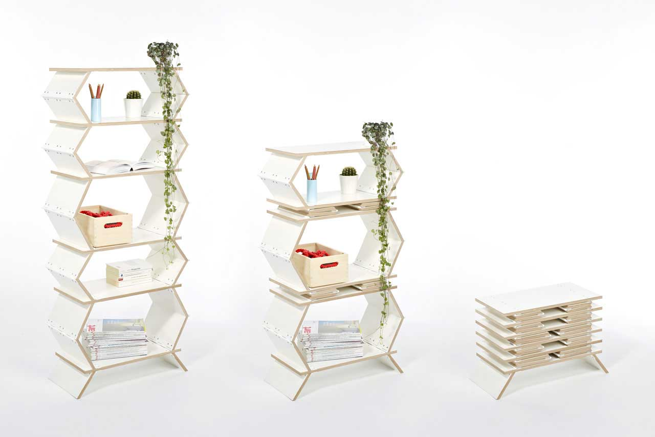 Meike Harde, pop-up shelf, Stockwerk, adaptable furniture, flat pack shelf, German design, piano hinges, folding furniture