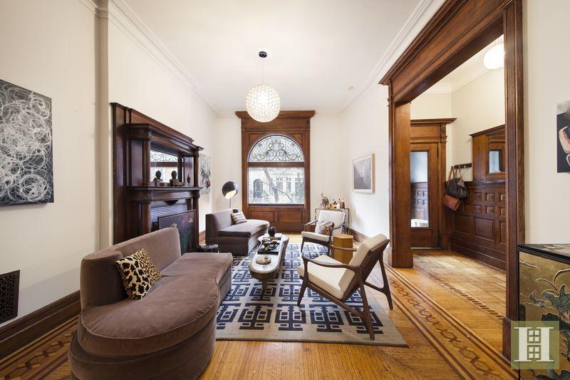 857 Carroll Street, living room, fireplace, Park Slope townhouse, matthew blesso