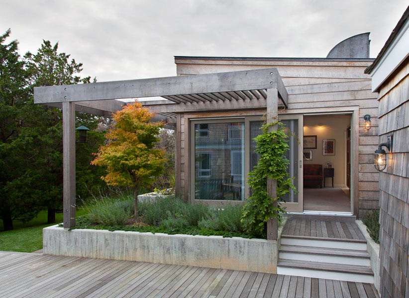 CWB Architects, piano-inspired pavilion, pianist client, Buchanan tartan, Quogue, Plymouth Church, Brooklyn Heights, wooden pavilion, wood-clad shelter, wooden deck, skylight like piano