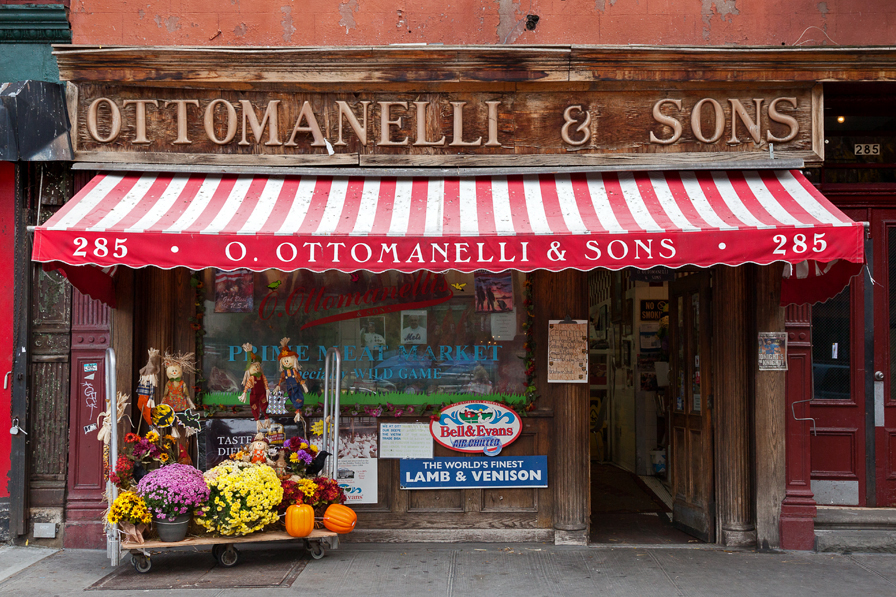 O. OTTOMANELLI & SONS PRIME MEAT MARKET, NYC signage