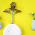 Studio Harm en Elke, ceramic flower pot, Wall flowers, glazed ceramic, small plants vessel, ceramic wall pocket, Design Academy of Eindhoven, Sectie-C, Eindhoven, Dutch design