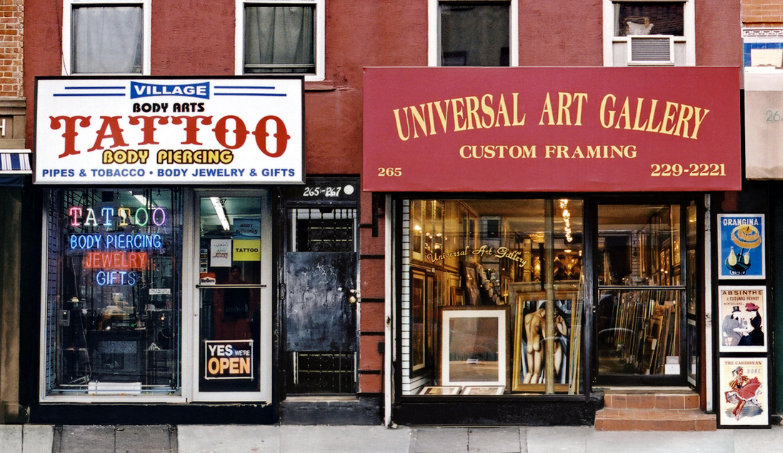 VILLAGE BODY ARTS TATTOO and UNIVERSAL ARTS GALLERY, NYC signage