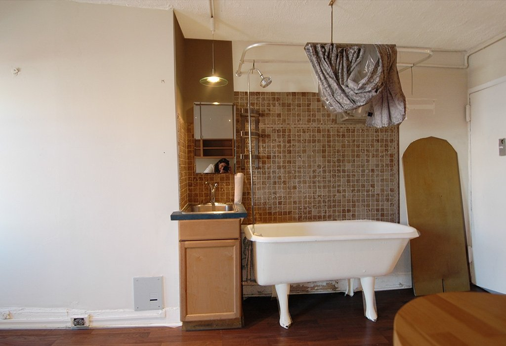 328 East 6th Street, bathtub in the kitchen, East Village studio