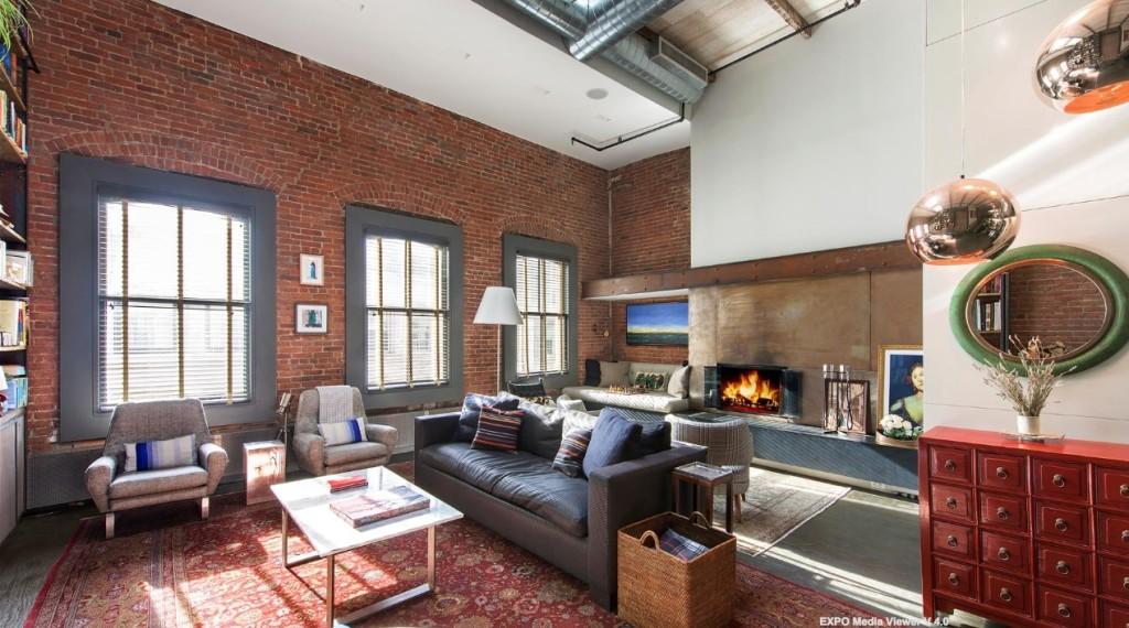 58 Walker Street, penthouse, tribeca, loft, living room, wood-burning fireplace