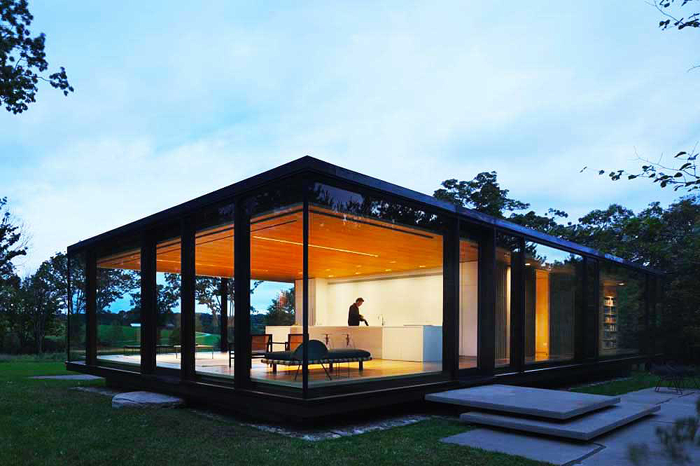 Arjun Desai, Katherine Chia, Desai/Chia, sustainable home, modernist home, LM Guest House, Arup, Couchette car, geothermal energy, radiant floors, motorized solar shading, photovoltaic panels, rainwater collection, Dutchess County, prefabricated windows,