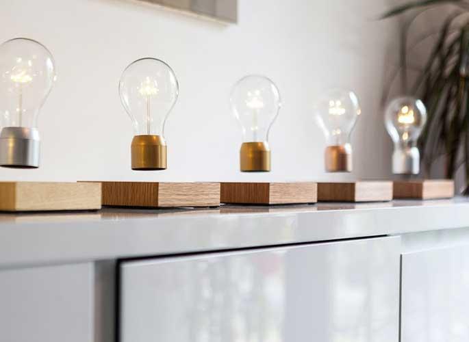 Simon Morris, levitating light bulb, Flyte, LED Light, floating light bulb, anti-gravity, Tesla, FSC wood