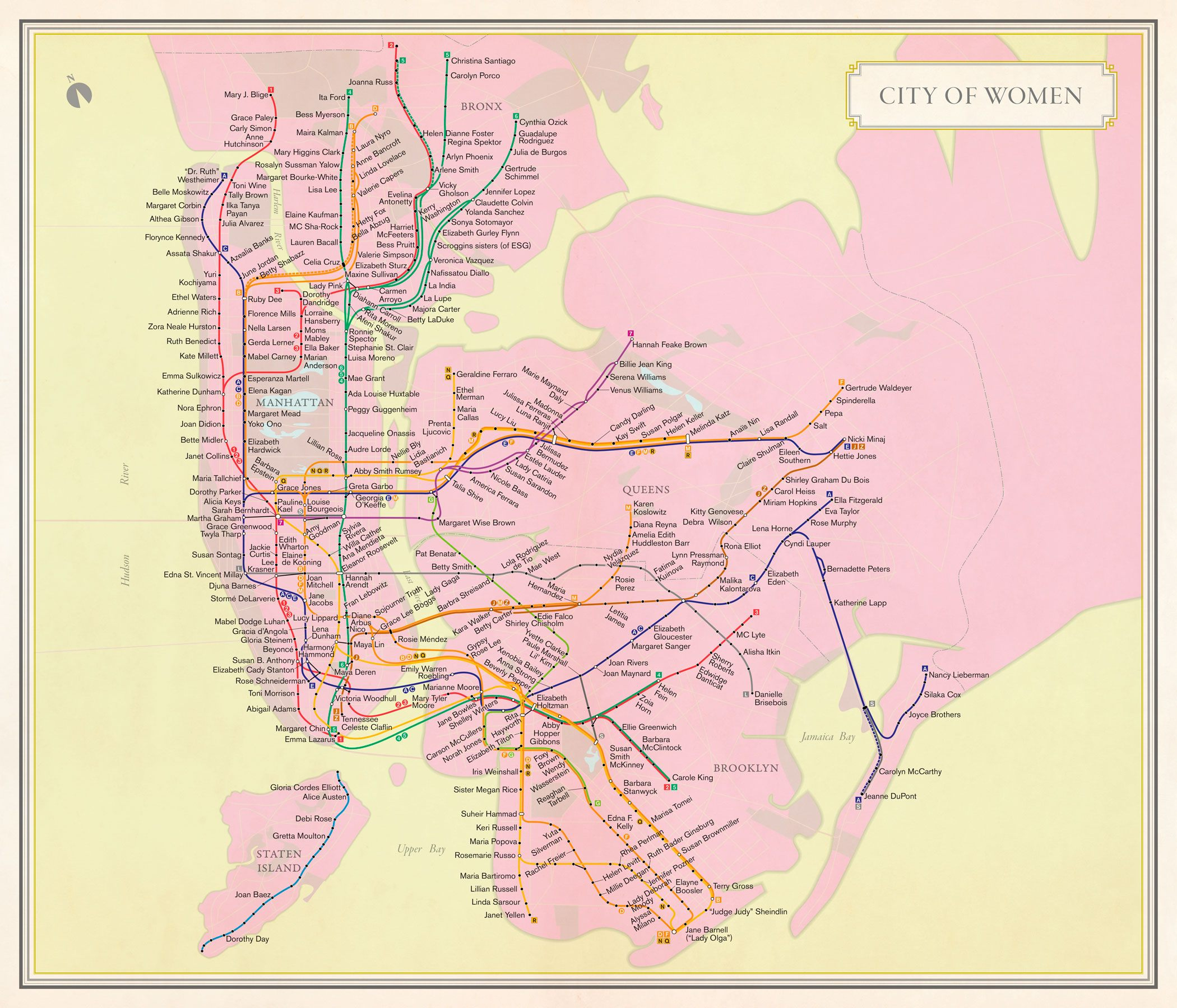 Subway Map To Rockefeller.City Of Women Turns The Subway Map Into An Homage To The City S