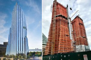 Rafael Vinoly's Three Waterline Square tops out, first of starchitect trio
