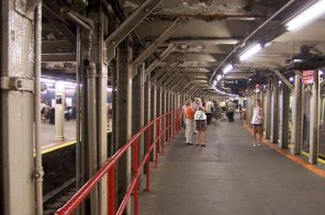Why are the tracks of the Times Square-Grand Central shuttle curved?