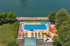 Roosevelt Island's colorful Manhattan Park Pool Club is back and open to the public