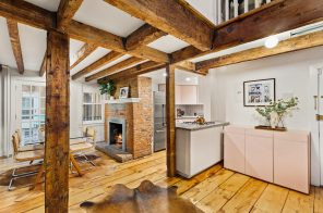 Brick and beams abound at this $1.75M Brooklyn Heights three-bedroom