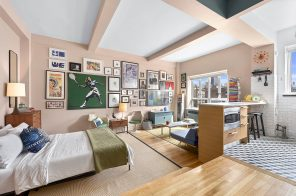 This retro Chelsea studio with an office nook is asking $550K