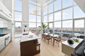 On the Williamsburg waterfront, this $4M penthouse has panoramic views and a private roof deck