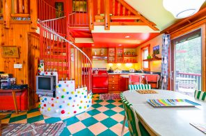 Kate Pierson of the B-52s lists her retro Catskills compound for $2.2M, kitschy furnishings included